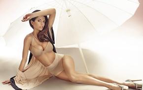 brown eyes, parasol, lying on side, underwear, brunette, high heels
