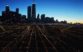 USA, night, long exposure, modern, architecture, Chicago