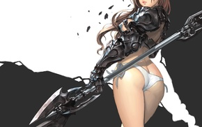 legs, long hair, Ake Cherrylich, weapon, simple background, armor