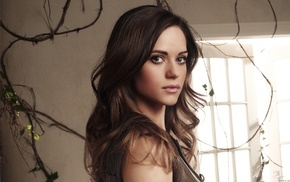 gray eyes, girl indoors, brunette, looking at viewer, Lyndsy Fonseca, face
