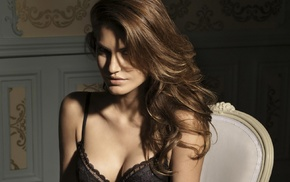 brunette, sitting, juicy lips, girl indoors, bra, black bras
