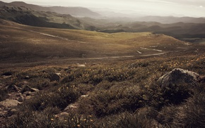 sunlight, mountain, field, summer, horizon, hill