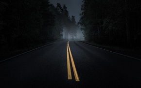 asphalt, dark, mist, night, road, yellow