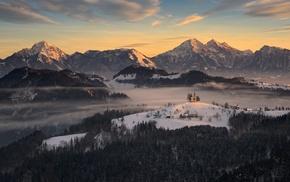 snowy peak, forest, sunrise, Slovenia, mountain, nature