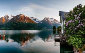 boat, fjord, house, nature, reflection, sunrise