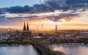 clouds, Cologne, urban, sunset, architecture, nature