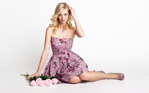 bare shoulders, sitting, rose, blonde, hands in hair, high heels