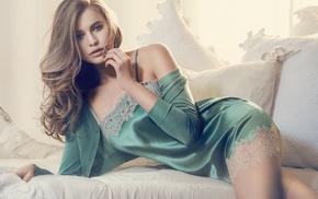 hands in hair, Tanya Mityushina, juicy lips, blue eyes, chemise, looking at viewer