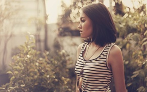 striped clothing, Asian, depth of field, tank top, necklace, side view