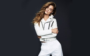 arms crossed, Nina Agdal, white clothing, rings, gray background, model