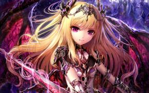 blonde, armor, anime girls, original characters, fangs, artwork