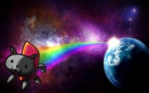 memes, Nyan Cat, cat, space, digital art, stars