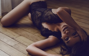 brunette, open mouth, wooden surface, bodysuit, hands in hair, lingerie
