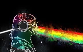 Prisma, music, skull and bones, Pink Floyd, rainbows