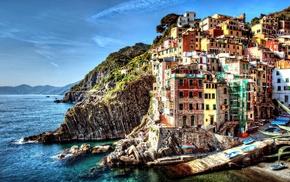 sea, Cinque Terre, Italy, cliff, boat, hill