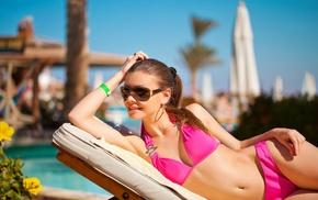 brunette, bikini, sunglasses, swimming pool, ponytail, earrings