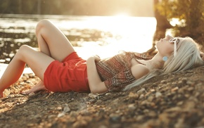 bent legs, red clothing, lying on back, sunglasses, earrings, blonde