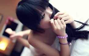 lying on front, lingerie, girl, in bed, Japanese girl, long hair