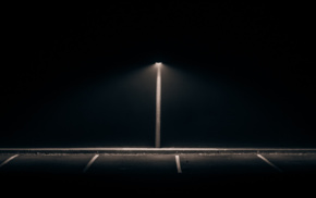 lines, dark, parking lot, lights, black background, alone