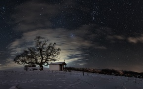 nature, stars, long exposure, church, night, cross