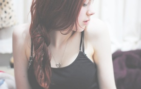 long hair, girl, Amanda Kirby, looking away, redhead, depth of field