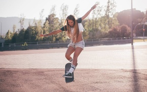 street, jean shorts, sunlight, open mouth, skateboarding, hill