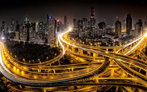 lights, cityscape, gold, road, modern, China