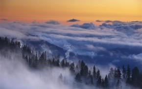 Yosemite National Park, landscape, nature, clouds, morning, mountain