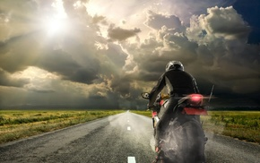 field, sky, clouds, pilot, motorcycle, asphalt