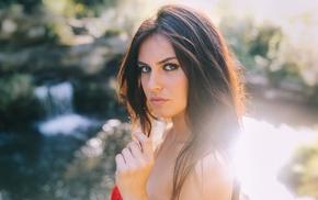 brunette, Aurela Skandaj, portrait, looking at viewer, face, bare shoulders