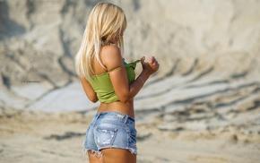 tanned, girl, short tops, back, ass, jean shorts