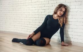 walls, black stockings, stockings, leotard, girl, sitting