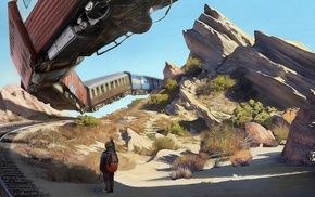 artwork, flying, children, desert, train