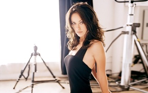 brunette, girl indoors, blue eyes, looking at viewer, dress, Olivia Wilde