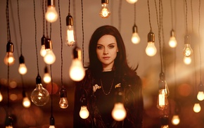 black clothing, light bulb, looking at viewer, celebrity, brunette, Amy Macdonald