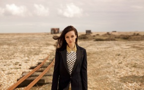 girl outdoors, railway, Amy Macdonald, looking at viewer, singer, celebrity