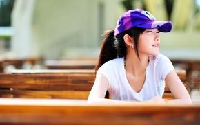 brunette, Asian, T, shirt, girl, depth of field