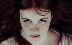 looking at viewer, redhead, freckles, face, long hair, blue eyes