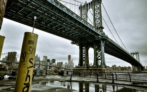 water, New York City, architecture, Manhattan Bridge, cityscape, city