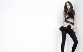 Kristen Stewart, white background, brunette, looking at viewer, tights, girl