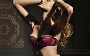 red bras, bra, blonde, lingerie, looking up, hands in hair