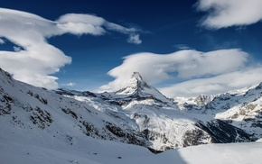 ice, clouds, mountain, snow, landscape, nature