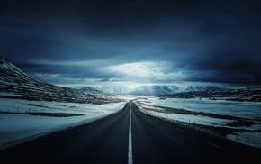 mountain, road, clouds, snow