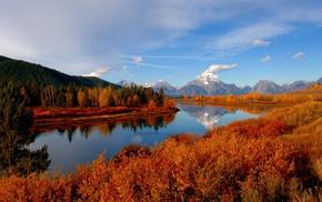 river, mountain, nature