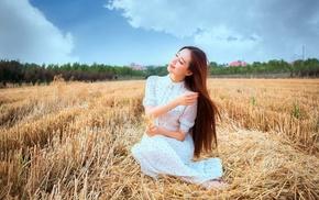 model, Asian, field, girl outdoors