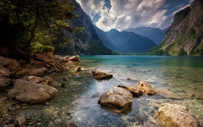 water, trees, Alps, lake, mountain, summer