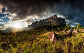 grass, rock, lens flare, Mount Roraima, shrubs, HDR