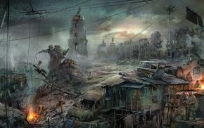 statue, dystopian, apocalyptic, ruin, Kiev, Ukraine