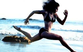fitness model, sports, girl, running