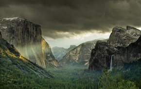 valley, mountain, landscape, cliff